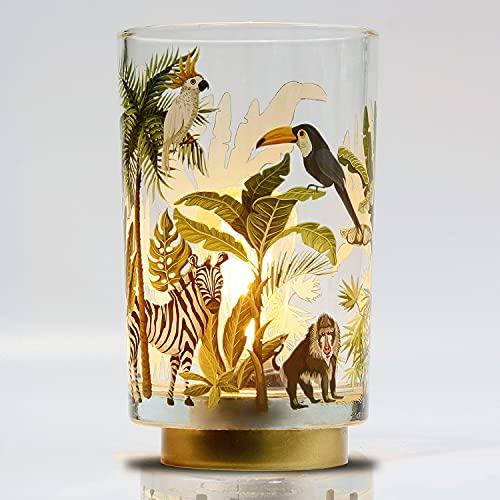 MJ PREMIER Lámpara de mesa, funciona con pilas, con función de temporizador, lámpara de mesa de cristal con diseño de selva y animales, lámpara de postre para salón, dormitorio, comedor
