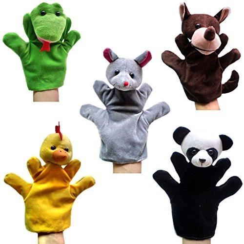 Happy Cherry - Lot de 5 Types Différents Marionnettes à Main - Cheval / Serpent / Loup / Poulet / Porc - Jouets en Peluche pour Enfant Bébé (Style 1)