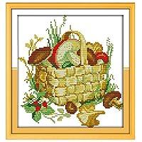 刺繍キットDIY刺繍セット マッシュルームバスケット27x29cm 初心者向け クロスステッチキット 刺しゅうセット き 刺繍糸 刺繍用布 刺繍工具(フレームレス)