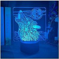3Dイリュージョンナイトライト 動物のオオカミの月 スマートタッチ 3Dランプオプティカル7色段階的に変化する子供用LEDライトスマートタッチベッドサイドランプベッドルーム男の子用ホームデコレーションクリスマスギフト
