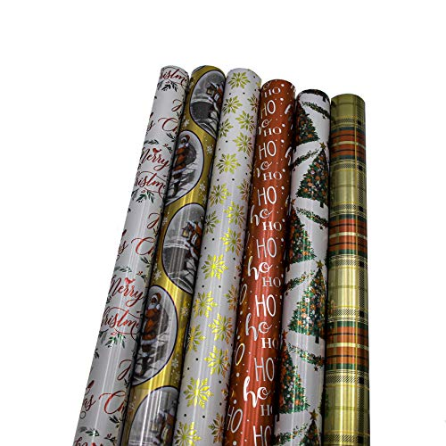 "Bundle of 6 Rolls of 30"" Premium Foil Merry Christmas Holiday Traditional Gift-wrap Wrapping Paper, Snow Flakes, Santa Claus, Tree with Ornaments, Plaid"