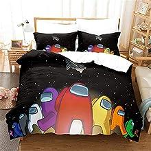 SMNVCKJ Among Us Ropa de cama 3D infantil, microfibra, con funda de almohada, para niños y niñas (12, doble 200 x 200 cm)