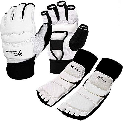 Taekwondo Handschuhe und Fußschutz Kickboxen Set, Fußschoner Knöchelbandage Größe S/M/L/XL für Kinder Männer Frauen, für Kampfsport MMA Freefight Boxing Sparring Training (M, Handschuhe/Fußschutz)