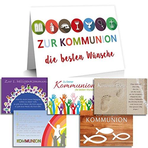 "Glückwunschkarten ""Kommunion"" / inklusive Kuvert / Motive wählbar / Anzahl wählbar (5er oder 10er Set) / Geldgeschenk (Kinder, 10er Set)"