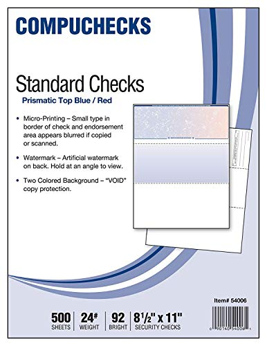 500 Blank Check Stock - Check on Top - Blue/Red Prismatic