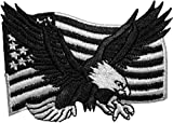 Papapatch Bald Eagle with American USA Flag Sew on Iron on Embroidered Applique Patch - Black & White (Iron-Bald-USA-BW)