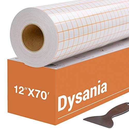 """HTVRONT Transfer Tape for Vinyl - 12"""" x 70 FT w/Orange Alignment Grid for..."""