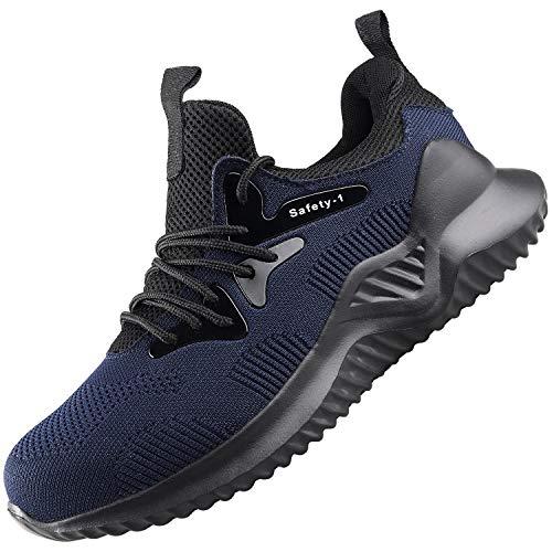 UCAYALI Zapatos de Seguridad Hombre Trabajo Ligeros Antiestaticos ESD Flexibles Calzados de Proteccion Safetoe Comodos Ligeras Zapatillas de Seguridad de Trabajo Anti Deslizante(026 Azul, 43 EU 265)
