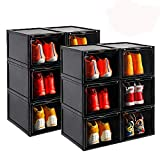 AOTENG STAR Storage Shoes Box Womens Mens Shoe Storage Display Box Plastic Foldable Stackable Shoe Container Clear Closet Shelf Shoe Organizer-Six Pack