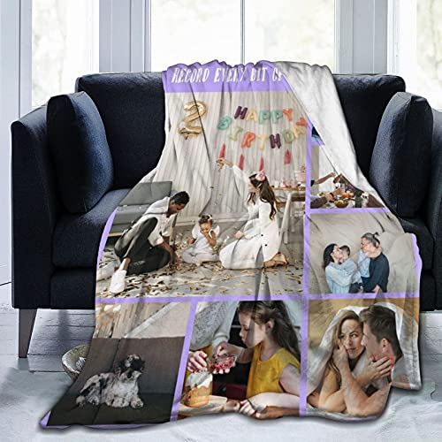 Customized Blanket with Picture and Name, Custom Blanket for Family, Friends, Dog, Cat Or Pet, Soft Flannel Blanket Bed Blanket 50x40 Inches 7 Photos Collage