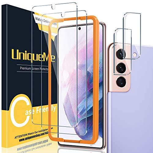 UniqueMe [2+2 Pezzi] Vetro Temperato Compatibile con Samsung Galaxy S21+/ S21 Plus Pellicola Protettiva + [Bubble-Free] Pellicola Fotocamera Compatibile con Samsung Galaxy S21+ [Facileinstallare].
