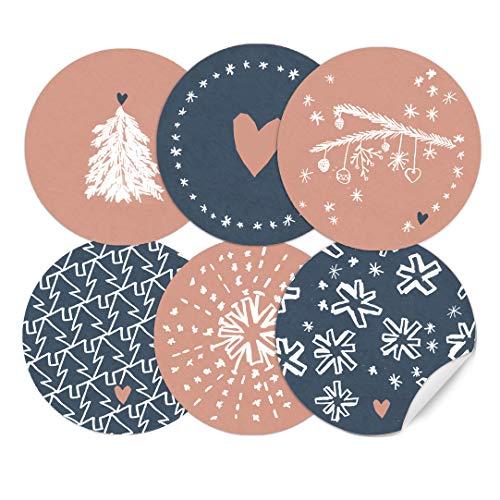 24 weihnachtliche Aufkleber im Handlettering Stil, runde selbstklebende Sticker für Weihnachtsgeschenke, MATTE Papieraufkleber für selbst gebastelte Adventskalender und Weihnachten, Rosa Blau Weiß