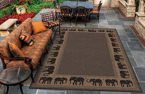 Couristan 1588 1021 Recife Elephant Cocoa Black Rug 5 Feet 10 Inch by 9 Feet 2 Inch product image