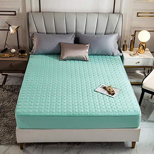 HPPSLT Protector de colchón - óptimo antiácarosSábana de Cama Color Puro de una Sola Pieza Algodón Puro-Verde Fresco_120 * 200cm