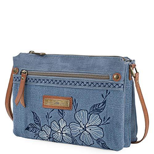 Lois - bolso bandolera pequeño para mujer bordado y acabado en lona denim uso diario cómodo versátil y 306115, Color Azul