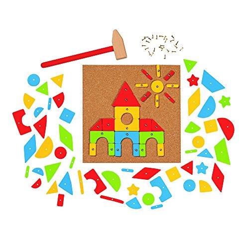 Goki- Hammer and Nail Game, Basic Puzzles de maderaPuzzles de maderaGOKIMartillo y Set de Clavos, Multicolor (58578)