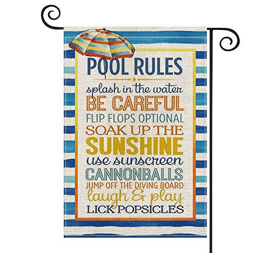 Pool Rules - Bandera de madera para jardín, diseño vertical de doble tamaño, para sumergir el sol, verano, patio, decoración al aire libre, 30 x 45 cm