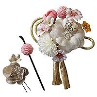 髪飾り 成人式 3点セット 花 大 ミニ uピン コーム タッセル ピンポンマム かのこ 日本製 B/白