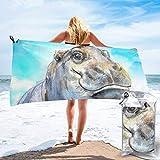 Toalla de Playa 27.5 'X 55',Tambores de Calavera de Fuego Microfibra de Arena Ultra Suave Portátil Absorbente de Agua Microfibra múltiple Sin Arena Toalla de Playa Manta-Acuarela Bebé hipopótamo