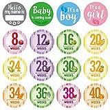 PMSMT 16 Unids/Set Pegatinas de Hitos de Embarazo Fotografía de Mujeres Pegatinas de Ropa de Vientre Semanales Semana 8 - Semana 40