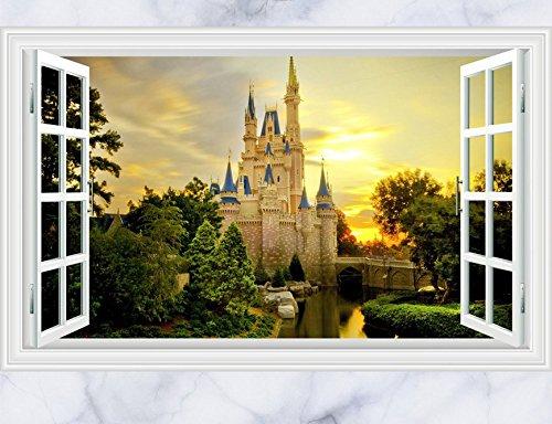 Skyllc® Castle 3D Window View Decal Décorations murales pour Salon TV Fond Chambre Décoration Stickers