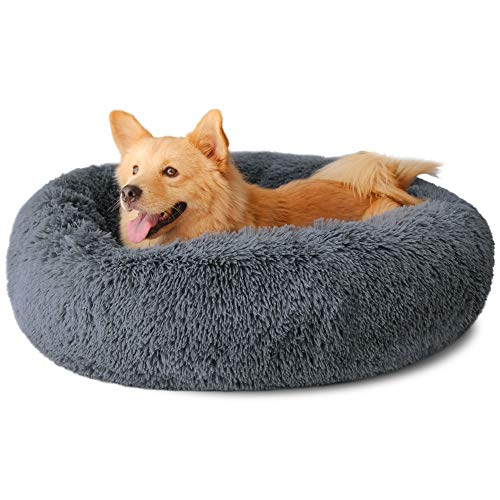 Dog Bed, Comfortable Round Donut Cuddler Pet Bed, Self-Warming Faux Fur Dog Cat Bed, Soft Plush Calming Bed for Small and Medium Dogs 30' x 30', Dark Grey