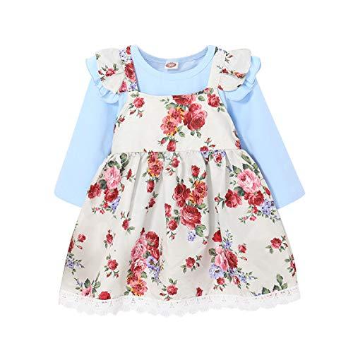 Puseky 2pcs / lot Infant Kids Baby Girls Floral Fleur Imprimer Jarretelle Jupe Robe Flounce Robe + T-Shirt À Manches Longues T Shirt Vêtements Ensemble Outfit (Color : Light Blue, Size : 12M-18M)