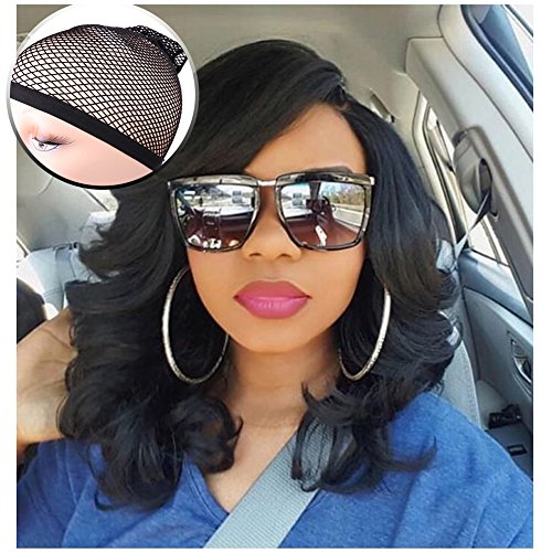 Lady Miranda Loose Wave Wig Pure Color Nature Curly Synthetic Heat Resistant Weave Full Wigs for Women(Black)