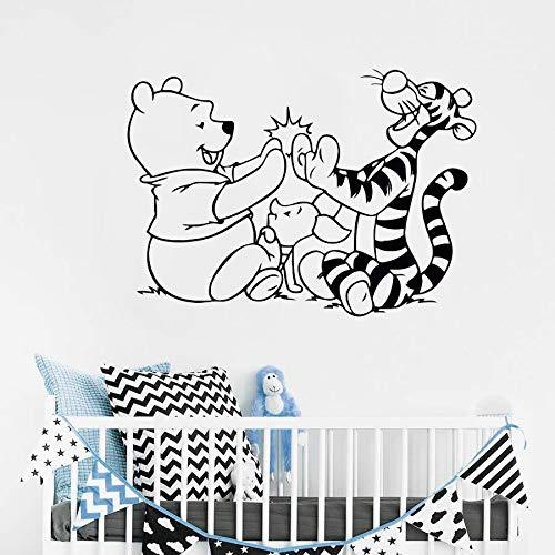 Tatuajes de Pared Tiger Cartoon Vinyl Sticker Desmontable Decoración de la habitación de los niños Baby Bedroom Wall Vinyl Decal 81x57cm