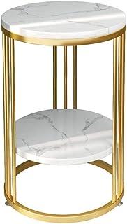 Tables Wang Séjour en marbre Basse, 2 Couches Support de Rangement, Cadre en métal, Chambre de Chevet -40cmx55cm (Color : ...