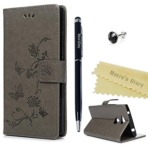 Sony Xperia XA2móvil Case Mavis 's Diary Lotus Flores Piel Funda Flip Cover Funda Carcasa skin Función Atril Carcasa Resistente al Bumper Cartera Cierre Magnético Wallet gris gris