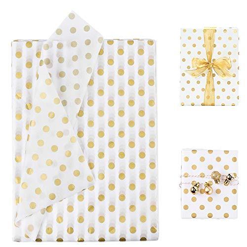 BUZIFU 50 Hojas de Papel de Regalo Papel de Lunares Papel de Regalo Blanco y Dorado Papel de Punto Dorado Accesorios de Embalaje de Regalo para Hacer regalos, 50 x 70cm