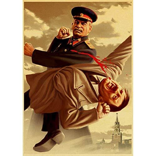 CWJCZY Stalin USSR CCCP Retro Poster Gute Qualität Gedruckt Wand Retro Poster Für Home Bar Cafe Room Wandaufkleber