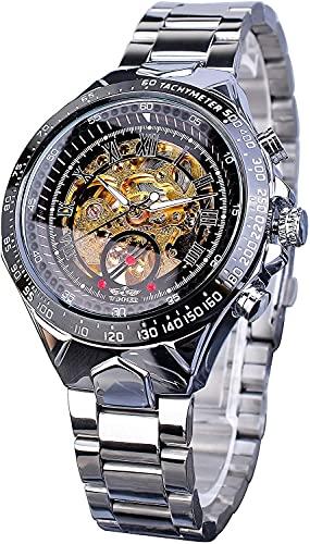 QHG Movimiento de Oro Esqueleto de Acero Inoxidable Hombres Reloj Deportivo automático Reloj de Pulsera