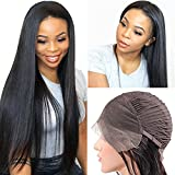 13X4 Straight Lace Frontal Wigs Human Hair Pre Plucked 180 Density Silk Straight Lace Front Wigs Human Hair Straight Brazilian Hair Wigs For Women Natural Black (24 Inches)