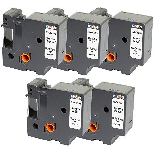 5 Kassetten D1 45803 schwarz auf weiß 19mm x 7m Schriftband kompatibel für DYMO LabelManager LM 100 150 160 200 210D 260 280 300 350 350D 360D 400 420P 450 500TS PC PC2 PnP LabelWriter LW 400 450 Duo
