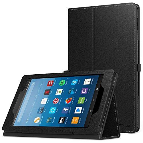 MoKo Hülle für All-New Amazon Fire HD 8 Tablet (7th und 8th Generation – 2017 und 2018 Modell) - Kunstleder Ständer Schutzhülle Smart Cover mit Stift-Schleife, Schwarz