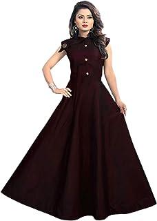 729771f4b9 vaidehi creation Women's Tafeta Satin Anarkali Style Gown (Maroon, Free Size )