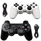 Tidoom PS3 Controller 2 Pack Wireless Bluetooth 6-Axis Gamepad Controllers Compatible for Playstation 3 Controller PS3 Wireless Controller (White and Black)