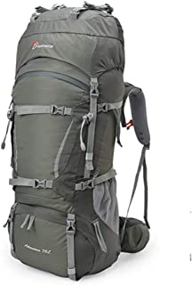 Outdoor Mountaineering Bag Shoulders Men and Women 60L70L Camping Hiking Backpack Ultra Light Large Capacity QYLOZ (Color : Gray, Size : 75cm×29cm×28cm)