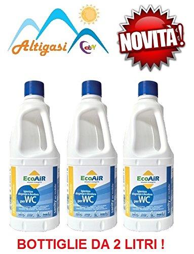 Altigasi Lot de 3 bouteilles de 2 litres d'additif liquide pour le traitement des eaux noires de camping car, principe actif : Aqua Kem