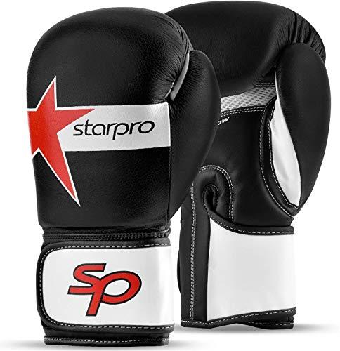 Starpro Boxhandschuhe Muay Thai Training - 8oz 10oz 12oz 14oz 16oz | Professioneller Boxsack Kickboxen Pro Sparring Punchinghandschuhe Mitts Boxing Gloves | Leder Schwarz Weiß für Männer und Frauen