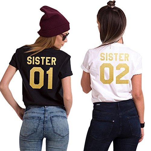 Minetom Best Friends Sister Damen T-Shirt Aufdruck Mädchen Sommer Weiß Schwarz Oberteile Tops Mode Casual Bluse A Schwarz - Gold 01 DE 44