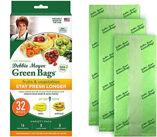 Debbie Meyer GreenBags 32-Pack (16M, 8L, 8XL) – Keeps Fruits, Vegetables, and Cut Flowers, Fresh Longer, Reusable, BPA Free, Made in USA -  Allstar Innovations, Debbie Meyer Green Bags