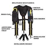 Work Suspenders- Padded Tool Belt Suspenders With Phone Pocket/Pencil Sleeve/Adjustable Straps Suspenders Loop/Heavy Duty Work for Carpenter Electrician Work Suspension Rig