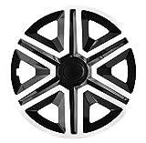 NRM Active Lot de 4 enjoliveurs Blanc/Noir 15' 4 x enjoliveurs universels