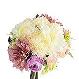 2 Bundle Artificial Flowers, Fake Flowers Silk Hydrangea Bouquet with Silk Leaves and Stem, Blossom for DIY Bridal Bouquets Centerpieces Floral Arrangements, 8.7' L x 6' Dia (Cameo Brown) 12pcs