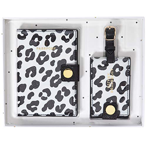"Graphique Passport Case and Luggage Tag Set, Leopard – 3.7"" x 5.5' Passport Case, 2.5"" x 5.75"" Luggage Tag – Perfect for Keeping Your Items Safe and Secure with Gold Metal Hardware"