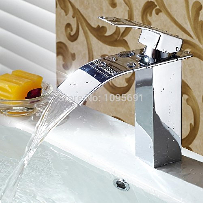U-Enjoy Einhand-Messing-Hochwertige Mischer-Wasserfall-Badezimmer Vanity-Wannen-Hahn Mit Extra Groen Rechteck Spout Chrome [Kostenloser Versand]
