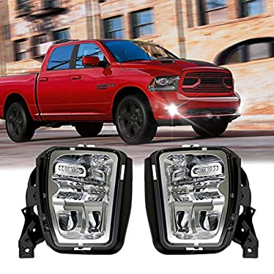 Z-OFFROAD New Version LED Fog Lights for Dodge Ram 1500 2013 2014 2015 2016 2017 2018 2019 Bumper Driving Fog Lamps Replacement – 1 Pair Silver